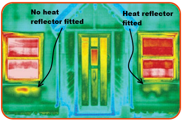 Heat Reflector Infrared Image showing heat loss savings with a radiator reflector