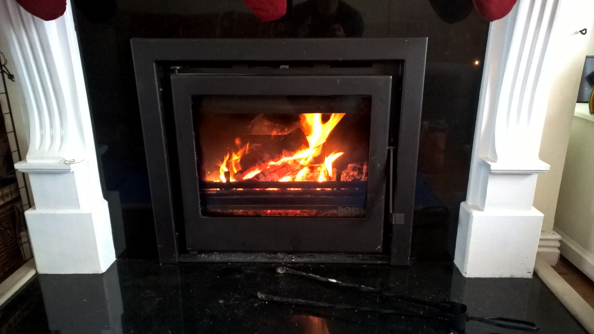 A Boru 600i Insert Wood Burning Stove, with a back boiler to heat the whole house.