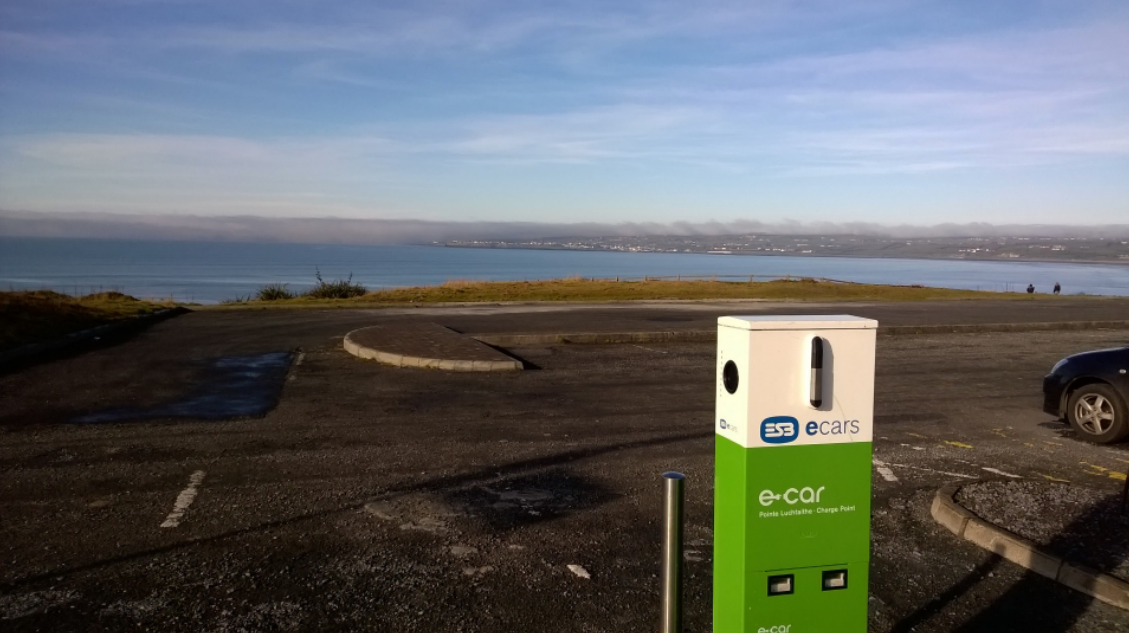 EV Charge Point on the cliff overlooking Lahinch Bay in Co Clare