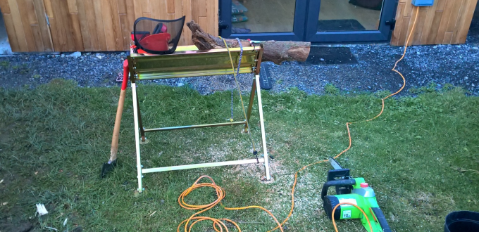 The Fire Wood Processing Setup. A fine use for bike bungee chords!