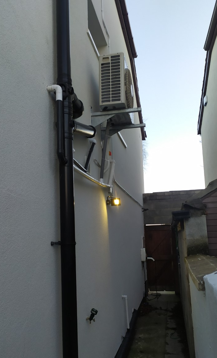 We mounted the fan unit up on the side of the house so it was out of the way